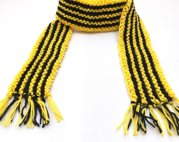 Bumblebee Scarf - Adult Classic Scarf Bee Stripes Yellow & Black Colourful Knitted Scarf - Unisex Yellow Black Striped Scarf Football Scarf