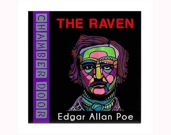 Edgar Allan Poe Book Lover Art Tile by artist Heather Galler Raven American writer literary poetry short stories mystery macabre