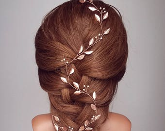Bridal Hair Vine, Rose Gold Leaf Vine, Wedding Hair Piece, Bridal Hairpiece, Rose Gold Vine, Headpiece, Wreath, Tiara, Boho