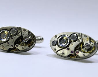 Stunning oval watch movement cufflinks ideal gift for a wedding, birthday or anniversary 53