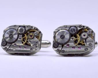 Rectangular Industrial Watch Movement Cufflinks with genuine watch movements 91