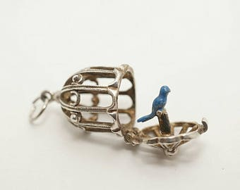 Vintage Sterling/Enamel Blue Bird in a Cage Charm