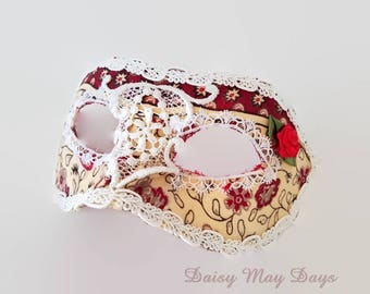 Carnival Masquerade Mask, Mardi Gras, Costume, Ballroom, Wedding, Face Mask with Rose & Lace Design, Fabric Covered Mask