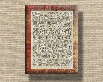 Man in the Arena - Word Art Print Rust with Tan - 11X14 CAFE MOUNT Print Roosevelt - ready to hang, other formats available