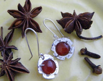 Red Carnelian Gemstone Earrings, Sterling Silver, Handmade hammered silver and prong set open open back cabochons