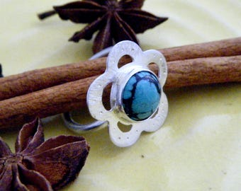 Turquoise ring, handmade in sterling silver