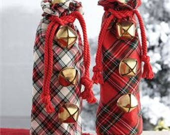 Tartan Wine Bag by MudPie® - wine gift bag wine bottle bag Christmas wine bag bottle gift bag personalized wine carrier wine tote