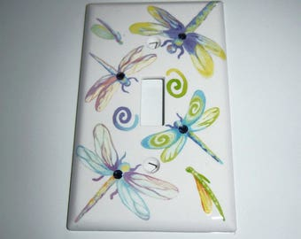 Pastel Dragonflies Single Light Switch Cover, Childs room, Swarovski crystals