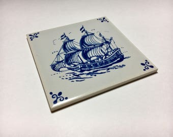 Vintage Decorative Tile Royal Mosa Holland Sailing Ship Delft Blue
