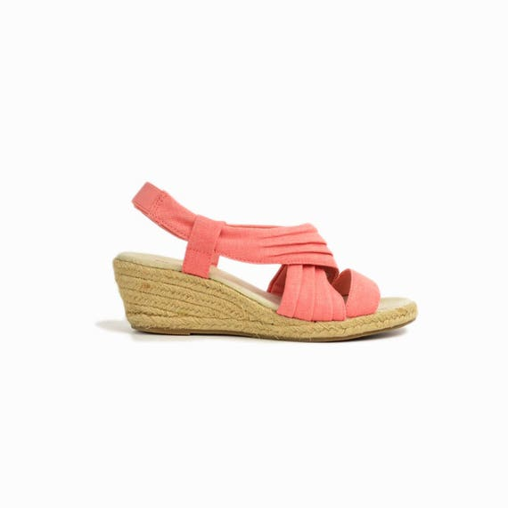 Vintage 90s Espadrille Wedge Sandals in Salmon Pink / Espadrille Wedges / 90s Sketchers Shoes - women's 7