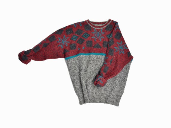 Vintage Pringle of Scotland Shetland Wool Snowflake Sweater / Holiday Sweater / Men's Christmas Sweater - men's xl