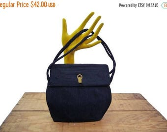 Summer Sale 1940s Cordé Top handle Purse with Hinged Closure