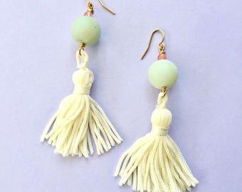 Pastel Modern Teal Amazonite & Pink Rose Quartz Cream Tassel Earrings