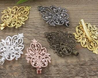 10 Brass Alligator Hair Clips W/ 48x35mm Filigree Floral Antique Bronze / Silver / Gold / Rose Gold / White Gold / Gun-Metal Plated- Z7250