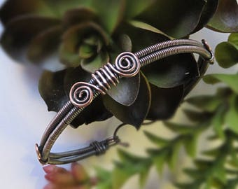 Wire Wrapped Bracelet - Copper Bangle Bracelet - Mens Copper Bracelet - Copper Bracelet for Arthritis - Wire Wrapped Bangle Bracelet