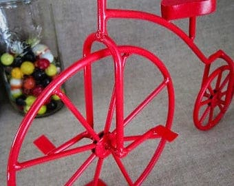 Metal Art Bicycle in Cherry Red / Upcycled Metal Bicycle Decor / Cyclist Home/Office Decor / Kid's Room Decor / Nursery Decor