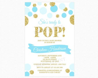 She's Ready to Pop Baby Shower Invitation, Blue, Gold Glitter, Polka Dots, Boy, Personalized, Printable and Printed