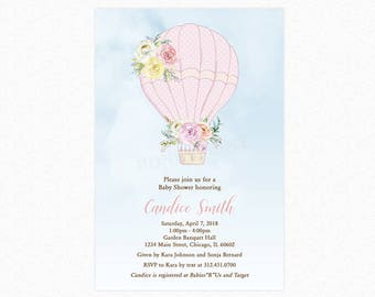 Hot Air Balloon Baby Shower Invitation, Pink, A New Adventure, Personalized, Printable or Printed