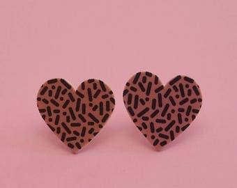 ON SALE Heart Earrings // Confetti Print Earrings // Memphis Modern Earrings // Graphic Earrings // Geometric Earrings