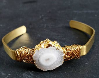 Natural Solar Quartz Cuff Bracelet Messy Wire Wrapped with Brass