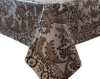 Rectangle Toile Brown Oilcloth Tablecloth