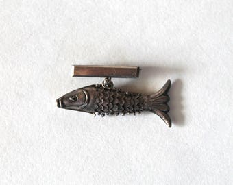 Vintage 1950's Mid Century Silver Articulated Fish Pin/Brooch! Mid Century Silver Jewelry!