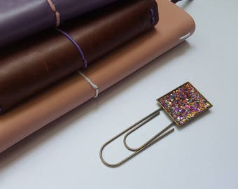 Rainbow glitter, bookmark, unique bookmark, planner clip, metal bookmark, planner accessories, planner supplies