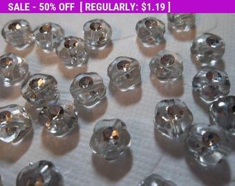 50% OFF Clearance SALE Crystal Clear Flower Beads - Lucite 7mm Beads - Rhinestone & Silver Accents - Vintage Inspired - Qty 24