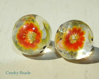 Handmade Lampwork Shank Button - Orange Flower - Creeky Beads - SRA