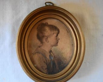 "VINTAGE PORTRAIT PINK Cheek Girl In Sailor Collar Oval Gold Frame Victorian Girl ""Charlotte"" Sidney Bell Small Wall Portrait"