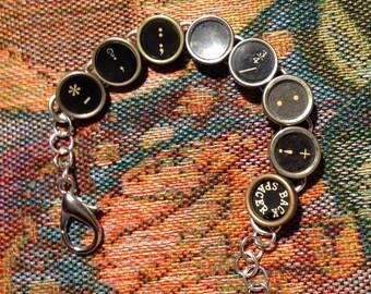 Vintage typewriter key bracelet punctuation and symbols