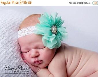 ON SALE Mint headband, baby headband, newborn headband, vintage headband, newborn photography prop, girl headband