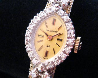 Hamilton Solid 14kt Watch - 24 Diamonds in Ornate Setting