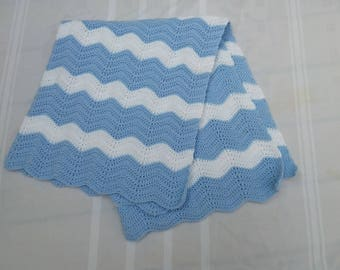 Crocheted Baby Blanket Light Blue White READY TO SHIP