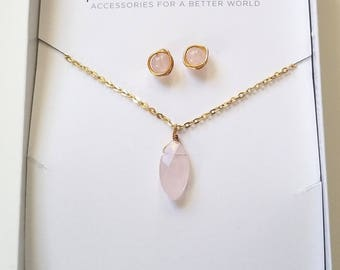 Rose Quartz Necklace and Earring Gift Set