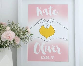 Personalised Anniversary Print | Personalised Wedding Print | Names and Date Print | Unframed Print