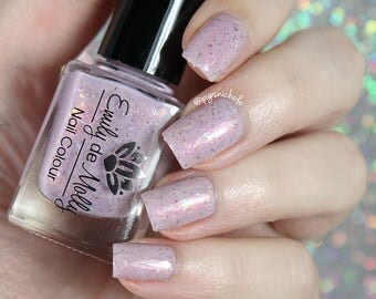 "Nail polish - ""Overcast Quartz"" ight dusty pink with flakies"