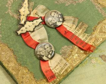 Vintage fabulous Patriotic lot Medal flag silk badge lincoln washington ribbon wisconsin lumber pin paris apartment decor 1900s rosette
