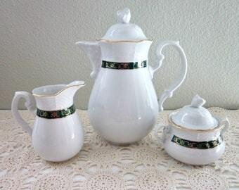 Vintage Thun Porcelain Tea Set, Tall Teapot, Covered Sugar and Creamer -Thun Czechoslovakia Cream and Sugar Set -Thun Bohemia Coffee Pot