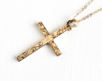 Vintage 12k Rosy Yellow Gold Filled Cross Initial R Pendant Necklace - 1940s Letter Religious Engraved Flower Vine Charm Sturdy Jewelry