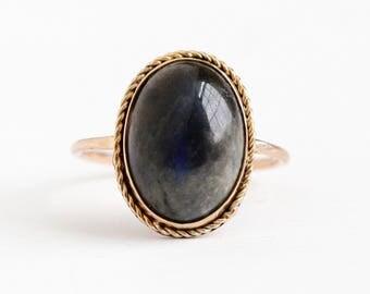 Vintage 10k Rosy Yellow Gold Labradorite Cabochon Stick Pin Conversion Ring - Size 6 1/2 Edwardian Era Genuine 6 Carat Blue Gem Fine Jewelry