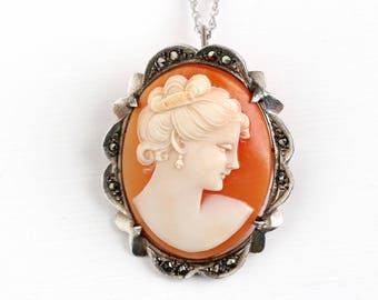 Vintage Art Deco Sterling Silver Cameo & Marcasite Necklace - 1930s Carved Shell Woman Silhouette Classic Pendant Brooch Pin Jewelry