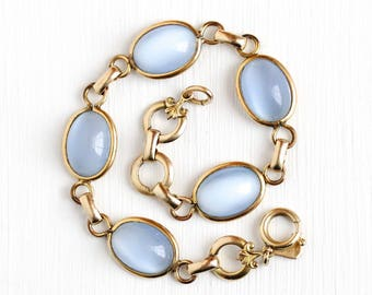 Simulated Moonstone Bracelet - Vintage 1/20 12k Yellow Gold Filled Oval Glass Cabochon Panels - 1940s Mid Century Adularescence Jewelry