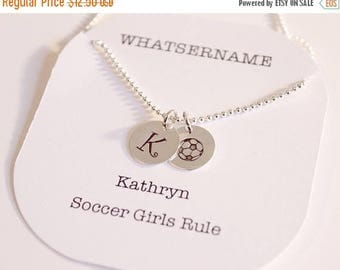 ON SALE Hand Stamped Soccer Ball with Number or Initial Charm Necklace, Silver Soccer Necklace, Soccer Girls Rule, Soccer Ball with Jersey N