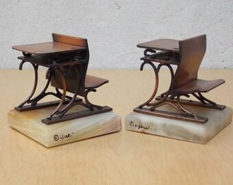 C Jere Copper & Marble Antique School Desk Bookends, Signed