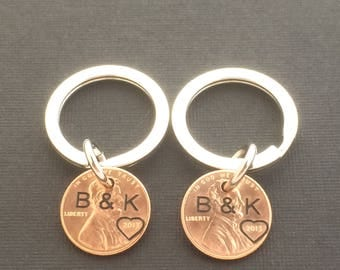 2 Personalized Keychain Set - Boyfriend Gift - Girlfriend Gift - Engraved - Anniversary Gift - Gifts for Couples - Husband, Wife Gift