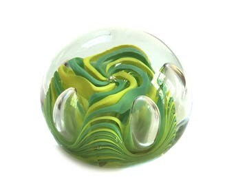 1975 John Gentile Glass Paperweight Signed with Family Crest G - Rare Paperweight Collectible