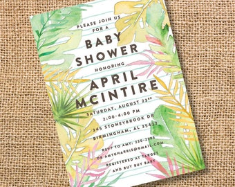 Watercolor Tropical Invitation Summer Baby Shower Poolside Bridal Shower Palm Trees Baby Boy Baby Girl Twins Luau Tropics Birthday Invite