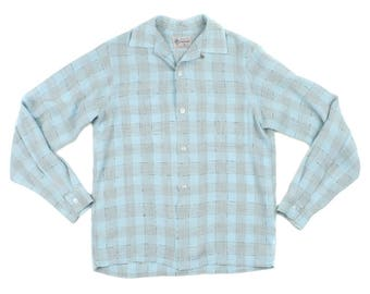 vintage mens 1950s loop collar shirt • light blue plaid rayon • size small