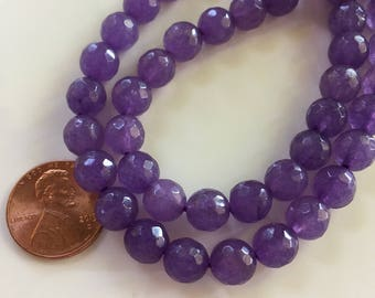 8mm JADE Beads in Lavender Purple, Faceted, Round, 1 Strand, 48 Beads, Semi Translucent Gemstones Beads, Purple Stone Beads